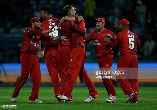 Lancashire playerscelebrate there victory against Northamptonshire after the NatWest T20 Blast Final between Lancashire Lightning and...