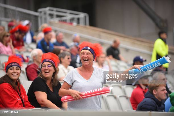Lancashire Thunder fans laughing during the Kia Super League 2017 match between Lancashire Thunder and Surrey Stars at Old Trafford on August 16 2017...