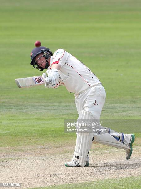 Lancashire's Alex Davies hits for 6 against Hampshire during day two of the Specsavers County Championship Division One match at the Emirates Old...