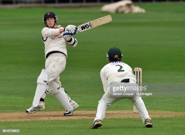 Lancashire's Alex Davies hits out during the LV=County Championship Division One match at Trent Bridge Nottingham