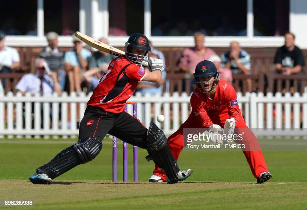 Lancashire's Alex Davies watches the ball as Leicestershire's Matthew Boyce plays his shot during the 2nd XI Trophy Final