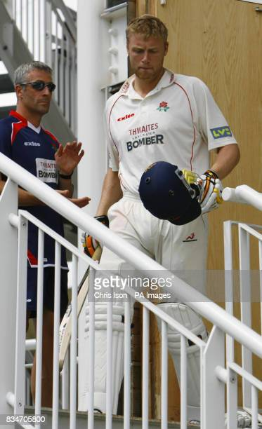 Lancashire's Andrew Flintoff come out to bat during the Liverpool Victoria County Championship match at the Rose Bowl Southampton