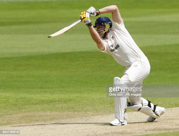 Lancashire's Andrew Flintoff drives a four to the boundary during the Liverpool Victoria County Championship match at the Rose Bowl Southampton