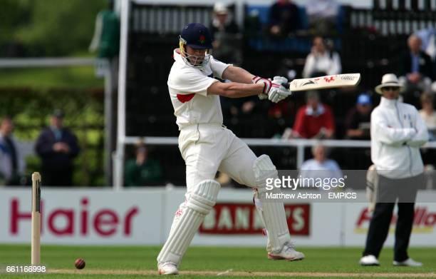 Lancashire's Andrew Flintoff off Worcestershire bowler Matthew Mason