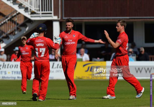 Lancashire's Arron Lilley celebrates with Alex Davies and Luis Reece after taking the wicket of Leicestershire's Mike Thornely during the 2nd XI...