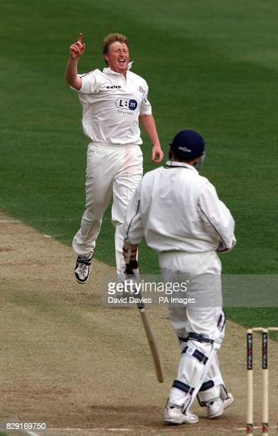 Lancashire's Glenn Chapple celebrates the wicket of Warwickshire's Alan Richardson caught behind for 0 on the final day of the Frizzell County...