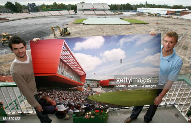 Lancashire's James Anderson and Andrew Flintoff hold up a plan of the finished stadium after its major redevelopment with the current state of the...