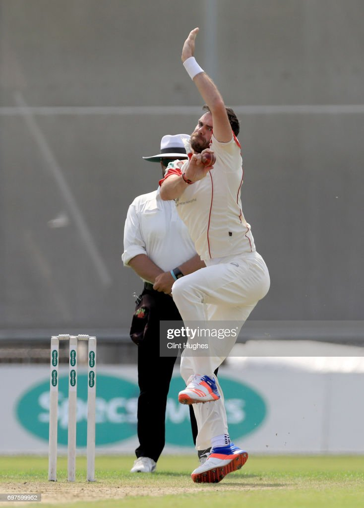 Lancashire's James Anderson bowles during day one of the Specsavers County Championship game between Lancashire and Hampshire at Old Trafford on June 19, 2017 in Manchester, England.