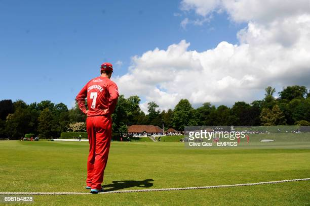 Lancashire's Liam Livingstone stands on the boundary