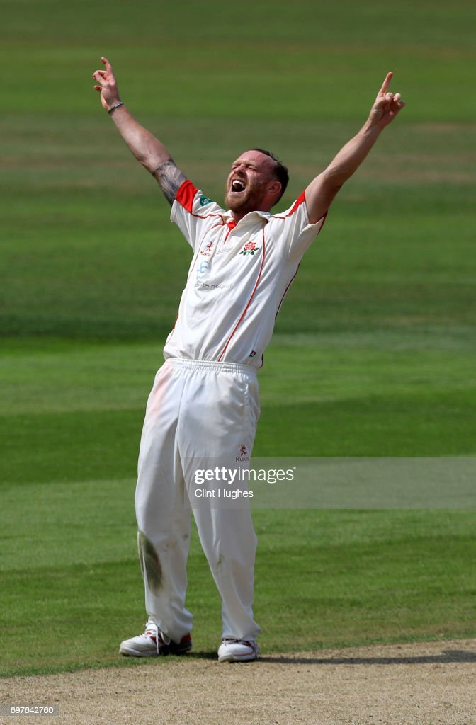 Lancashire's Luke Procter appeals sucessfully for LBW against Hampshire's James Vince during day one of the Specsavers County Championship game between Lancashire and Hampshire at Old Trafford on June 19, 2017 in Manchester, England.