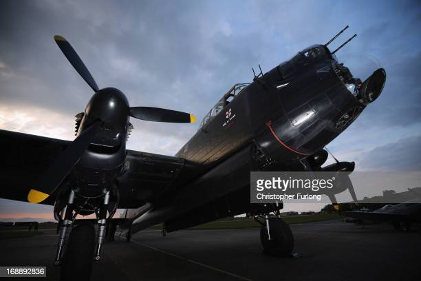Lancaster Bomber 'The City of Lincoln' sits on the runway as it takes part in a Sunset Ceremony to mark the 70th anniversary of the World War II...