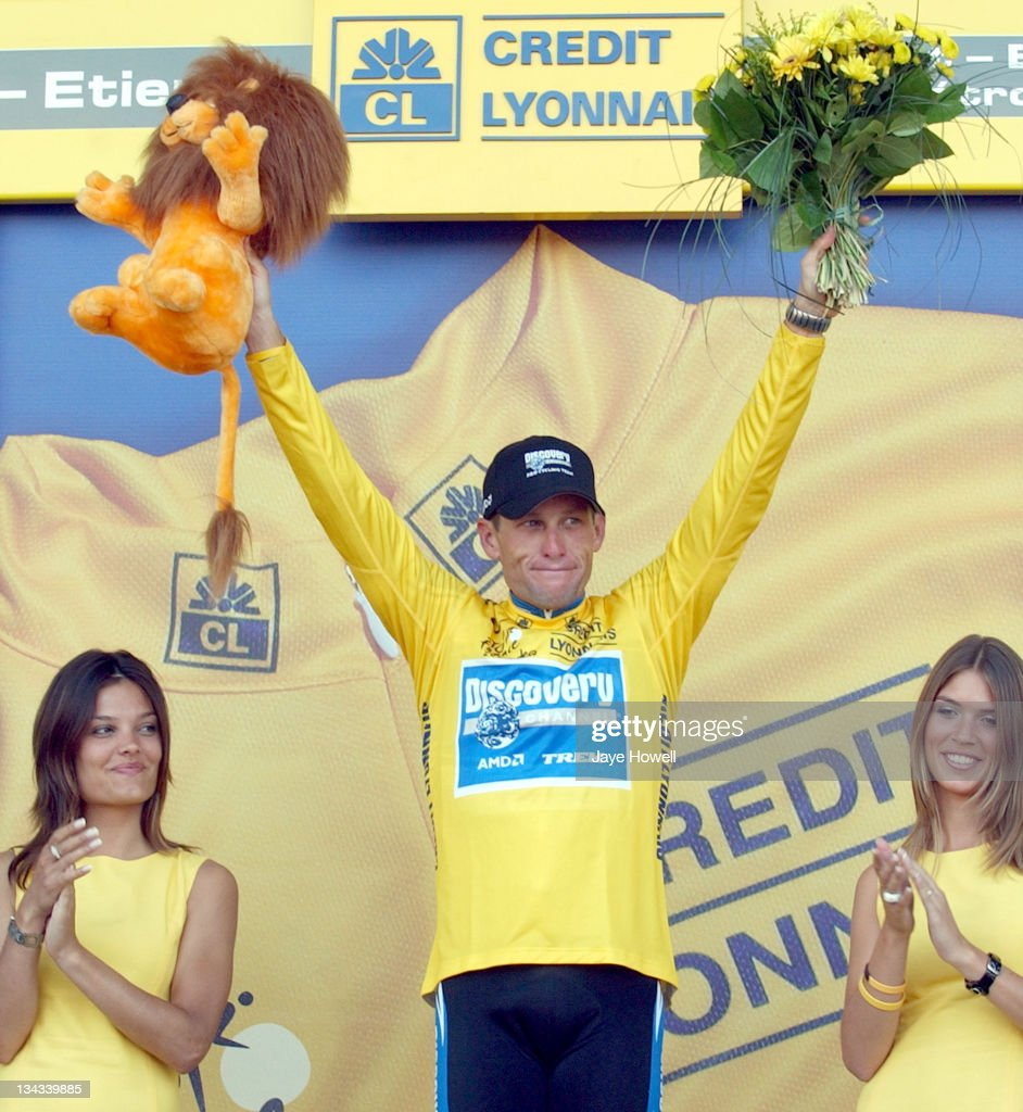 Lance Armstrong celebrates after winning Stage 20 the individual time trial of the 2005 Tour de France in St Etienne France on July 23 2005 With one...