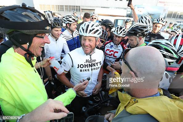 Lance Armstrong chats to cyclists on December 20 2016 in Auckland New Zealand The disgraced Tour de France rider is in New Zealand to film a...
