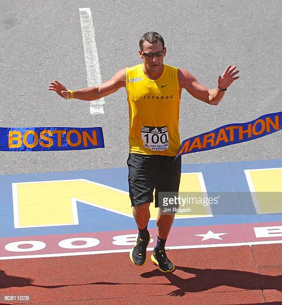 Lance Armstrong crosses the finish line during the 112th Boston Marathon on April 21 2008 in Boston Massachusetts