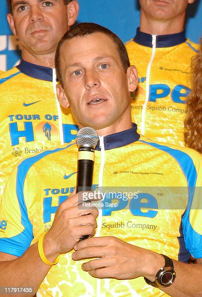 Lance Armstrong during Lance Armstrong Kicks Off BristolMyers Squibb Tour of Hope at City of Hope Cancer Center in Duarte California United States