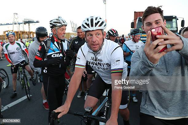 Lance Armstrong heads out with cyclists on December 20 2016 in Auckland New Zealand The disgraced Tour de France rider is in New Zealand to film a...