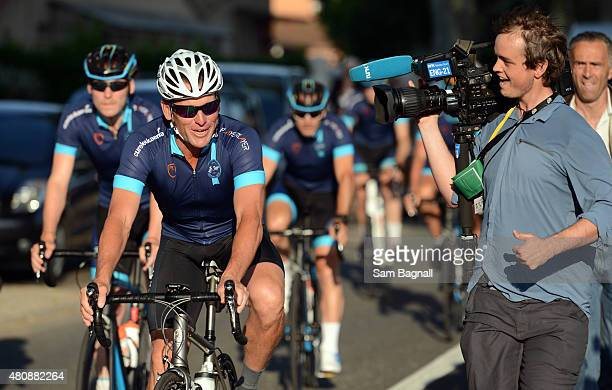 Lance Armstrong in action during stage thirteen of the One Day Ahead Le Tour 2015 on July 16 2015 in Rodez France