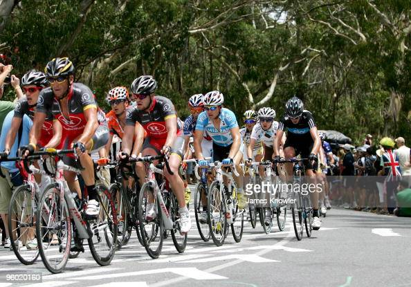 Lance Armstrong of America riding for Team RadioShack riding up Willunga Hill during stage five of the 2010 Tour Down Under January 23 2010 in...