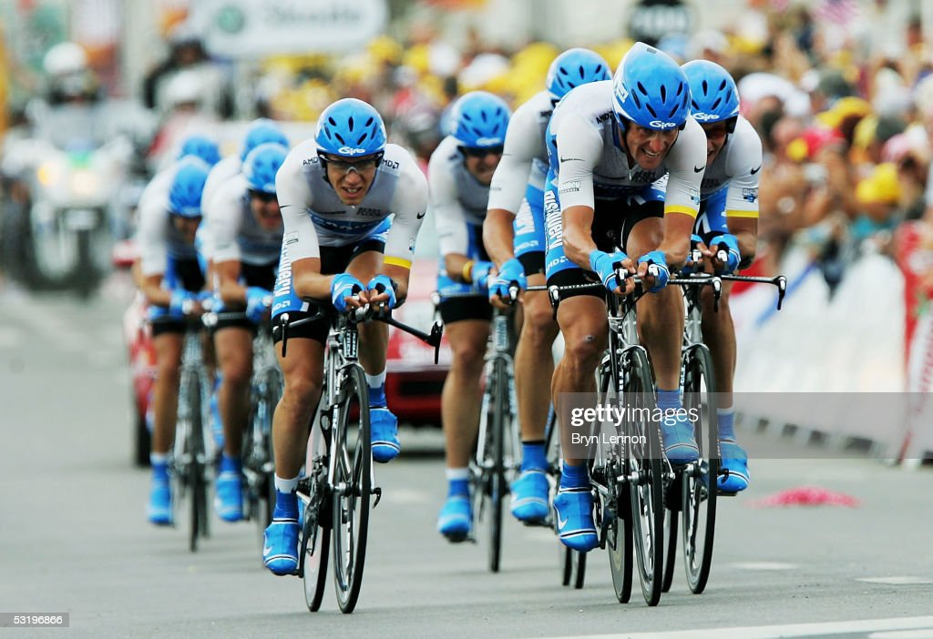 Lance Armstrong of the US leads his Discovery Channel Team to victory during the Team Time Trial Stage 4 of the 92nd Tour de France between Tours and...