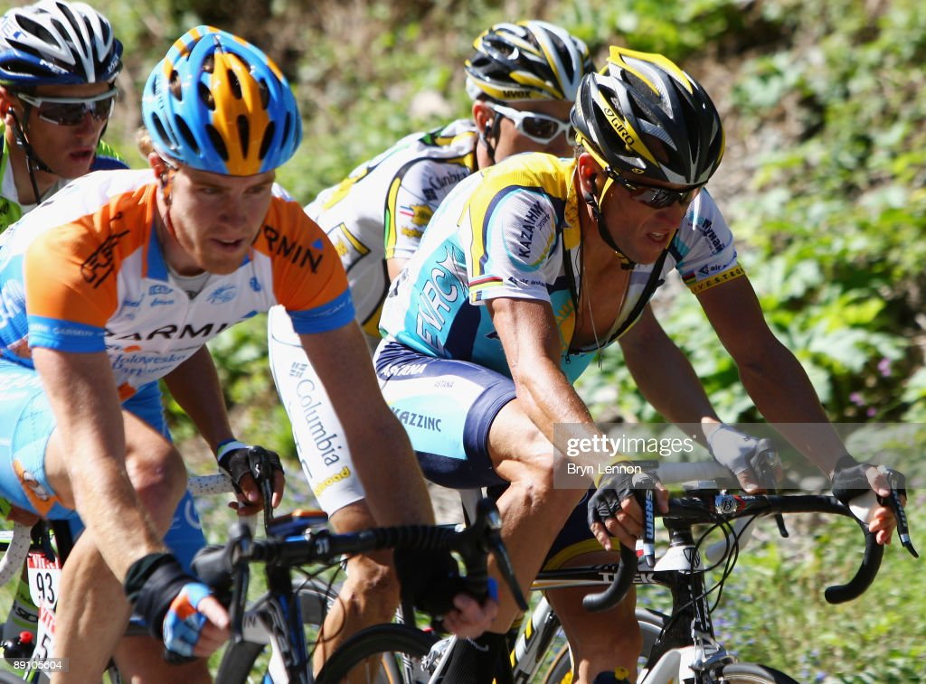 Lance Armstrong of the USA and Astana in action on stage 15 of the 2009 Tour de France from Pontarlier to Verbier on July 19, 2009 in Verbier, Switzerland.