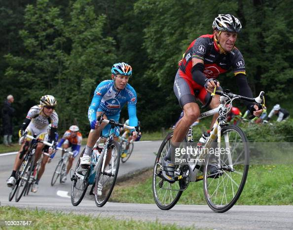 Lance Armstrong of the USA and Great Britain descends with the peloton during stage seventeen of the 2010 Tour de France from Pau to Col du Tourmalet...