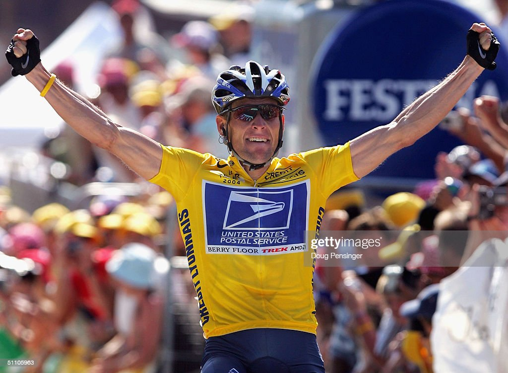 <a gi-track='captionPersonalityLinkClicked' href=/galleries/search?phrase=Lance+Armstrong&family=editorial&specificpeople=203072 ng-click='$event.stopPropagation()'>Lance Armstrong</a> of the USA and riding for US Postal Service presented by Berry Floor celebrates as he wins stage 17 of the Tour de France on July 22, 2004 from Bourg d'Oisans to le Grand Bornand, France.