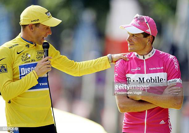 Lance Armstrong of the USA riding for the Discovery Channel has some kind words to say about Jan Ullrich of Germany from The TMobile Team on the...