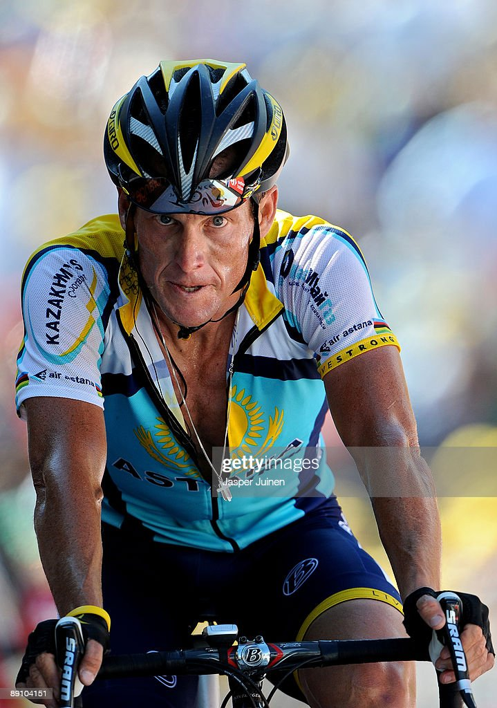 Lance Armstrong of USA and team Astana crosses the finishline at the end of stage 15 of the 2009 Tour de France from Pontarlier to Verbier on July 19, 2009 in Verbier, Switzerland. Armstrong stands second in the overall standings after stage 15 with 1 minute and 37 seconds behind his teammate, new race leader Alberto Contador of Spain.
