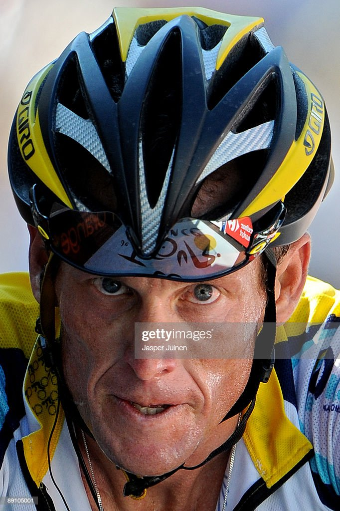 <a gi-track='captionPersonalityLinkClicked' href=/galleries/search?phrase=Lance+Armstrong&family=editorial&specificpeople=203072 ng-click='$event.stopPropagation()'>Lance Armstrong</a> of USA and team Astana crosses the finishline at the end of stage 15 of the 2009 Tour de France from Pontarlier to Verbier on July 19, 2009 in Verbier, Switzerland. Armstrong stands second in the overall standings after stage 15 with 1 minute and 37 seconds behind his teammate, new race leader Alberto Contador of Spain.