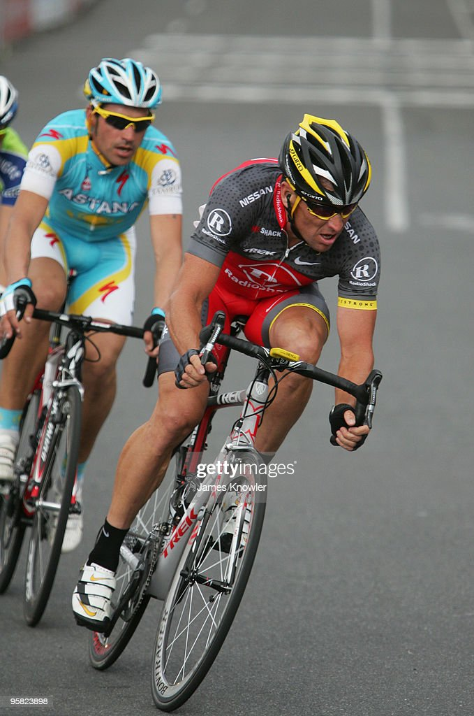 Lance Armstrong of USA riding for Team RadioShack leads the break away during the Cancer Council Helpline Classic during the 2010 Tour Down Under...