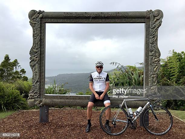 Lance Armstrong poses for a photo at the Arataki Visitor Centre during a ride with local cyclists in Auckland's Waitakere Ranges on December 19 2016...