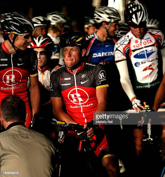Lance Armstrong prepares to ride the 33rd Argus Pick and Pay Cycle Tour on March 14 2010 in Cape Town South Africa