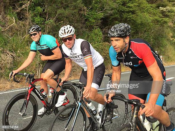 Lance Armstrong rides along Scenic Drive with local cyclists during a ride in Auckland's Waitakere Ranges on December 19 2016 in Auckland New Zealand
