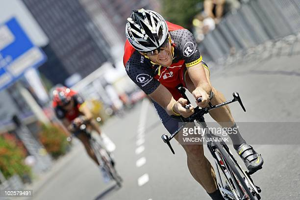 Lance Armstrong rides during a training session on the route of the prologue of the Tour de France in Rotterdam on July 2 2010 The Tour de France...