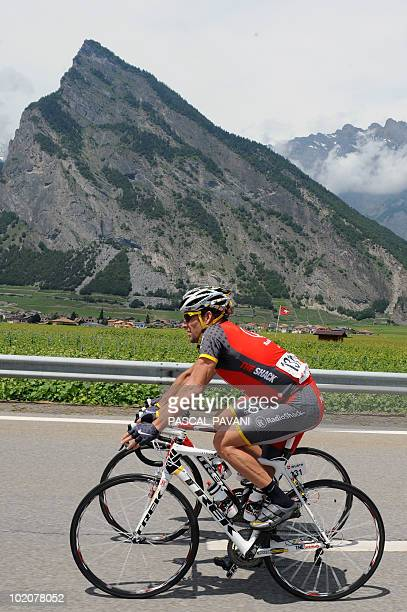 US Lance Armstrong rides during the third stage Sierre Schawarzenburg of the Tour de Suisse cycling race on June 14 2010 AFP PHOTO/ PASCAL PAVANI