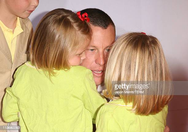 Lance Armstrong with children Isabelle Armstrong and Grace Armstrong