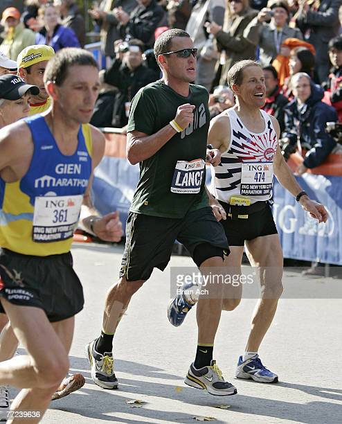 Lance Armstrong within 100 yards of the finish line during the 2006 ING New York City Marathon on November 5 2006 Armstrong finished his first...