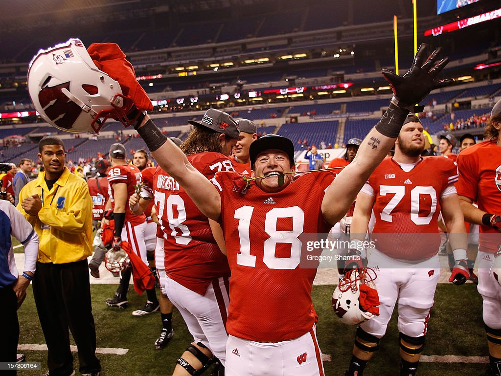 Lance Baretz #18 of the Wisconsin Badgers celebrates a 70-31 win over the Nebraska Cornhuskers in the Big 10 Conference Championship Game at Lucas Oil Stadium on December 1, 2012 in Indianapolis, Indiana.