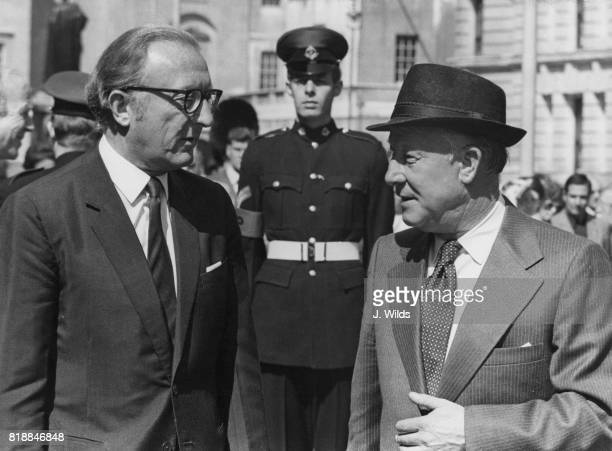 Lance Barnard the Australian Minister of Defence with Lord Carrington Britain's Secretary of State for Defence at the Ministry of Defence in London...