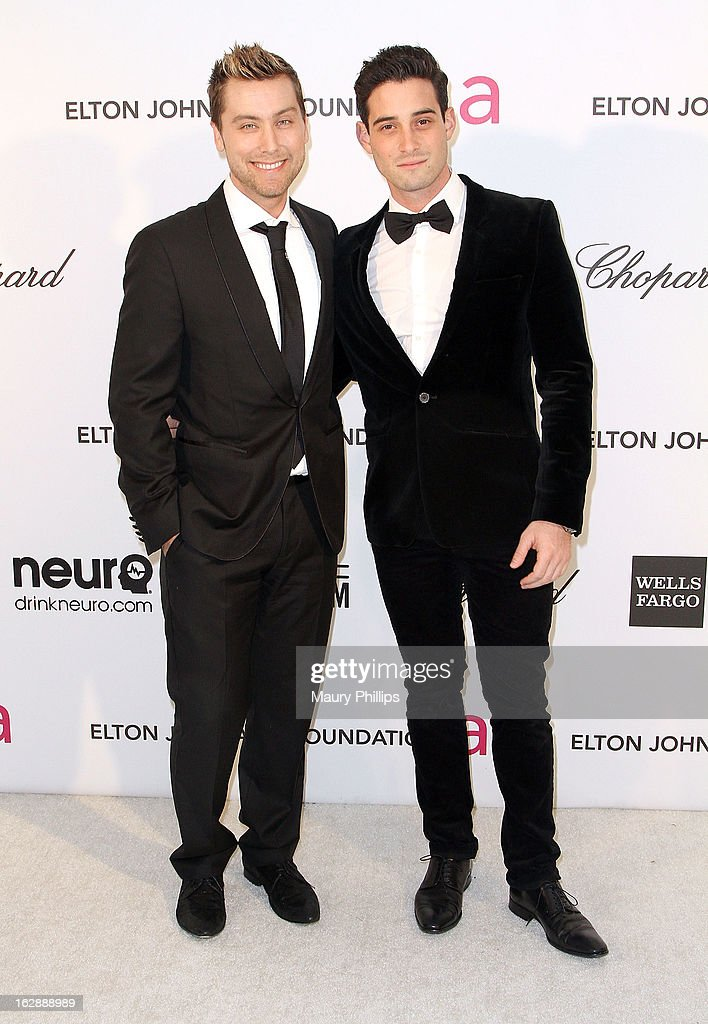 Lance Bass and guest arrive at the 21st Annual Elton John AIDS Foundation Academy Awards Viewing Party at Pacific Design Center on February 24, 2013 in West Hollywood, California.