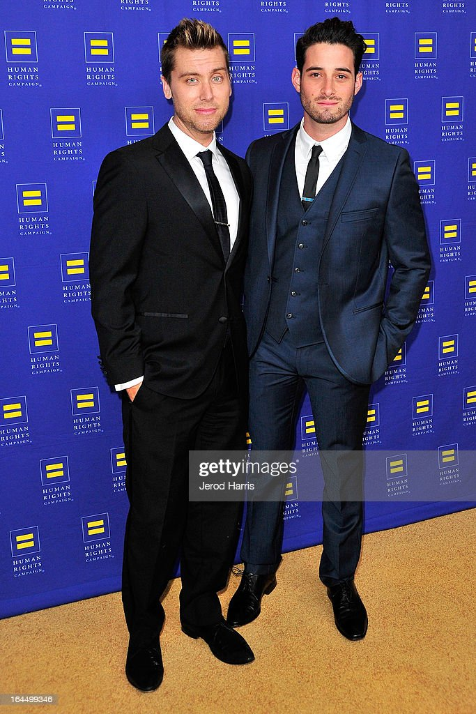 <a gi-track='captionPersonalityLinkClicked' href=/galleries/search?phrase=Lance+Bass&family=editorial&specificpeople=210566 ng-click='$event.stopPropagation()'>Lance Bass</a> and Michael Turchin arrive at Human Rights Campaign dinner gala at the JW Marriott at L.A. LIVE on March 23, 2013 in Los Angeles, California.