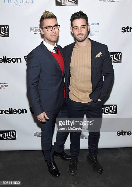 Lance Bass and Michael Turchin attend the BELLA New York Lance Bass Cover Launch Party at Troy Liquor Bar on January 21 2016 in New York City