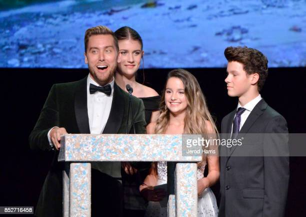 Lance Bass Brooke Butler Annie LeBlanc and Hayden Summerall speak onstage at the Environmental Media Association's 27th Annual EMA Awards at Barkar...