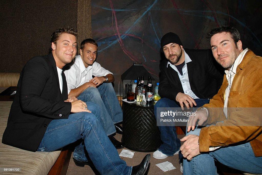 Lance Bass Joey Fatone and Tom Loureiro attend Los Angeles Confidential Magazine Pre Oscar Bash Celebrates Cover Boy Jamie Foxx sponsored by Godiva...