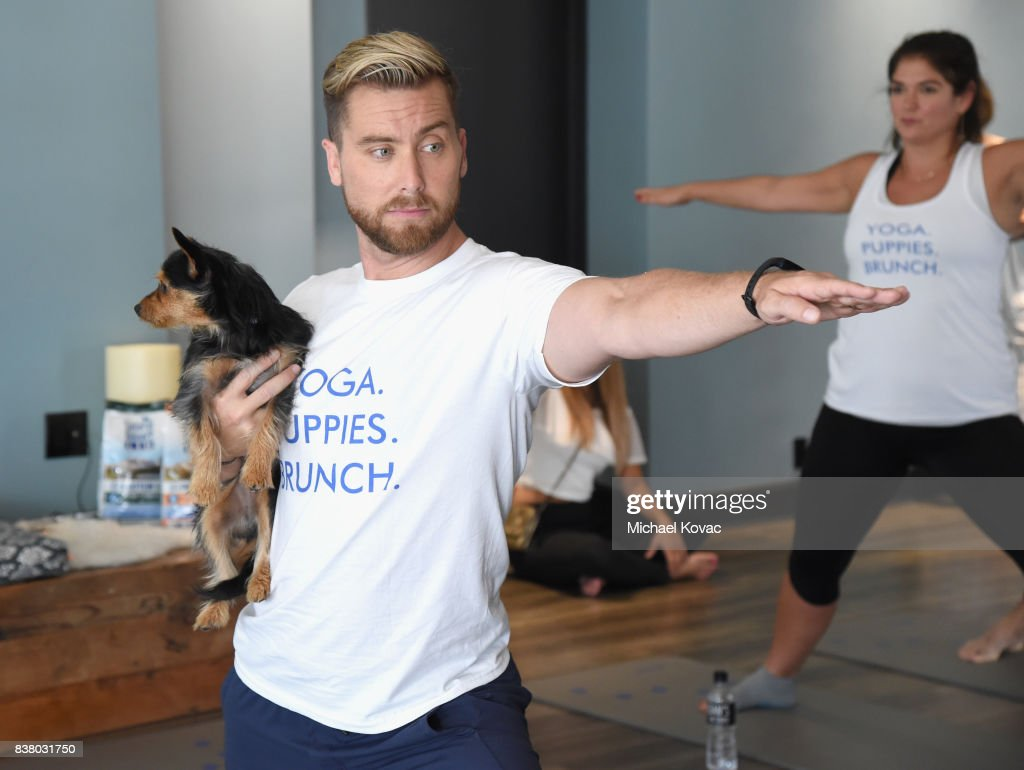 Lance Bass with his dog Dale at Natural Balance Pet Foods announce new formula with Lance Bass and Downward Dogs - Literally - at The DEN Meditation on August 23, 2017 in Los Angeles, California.