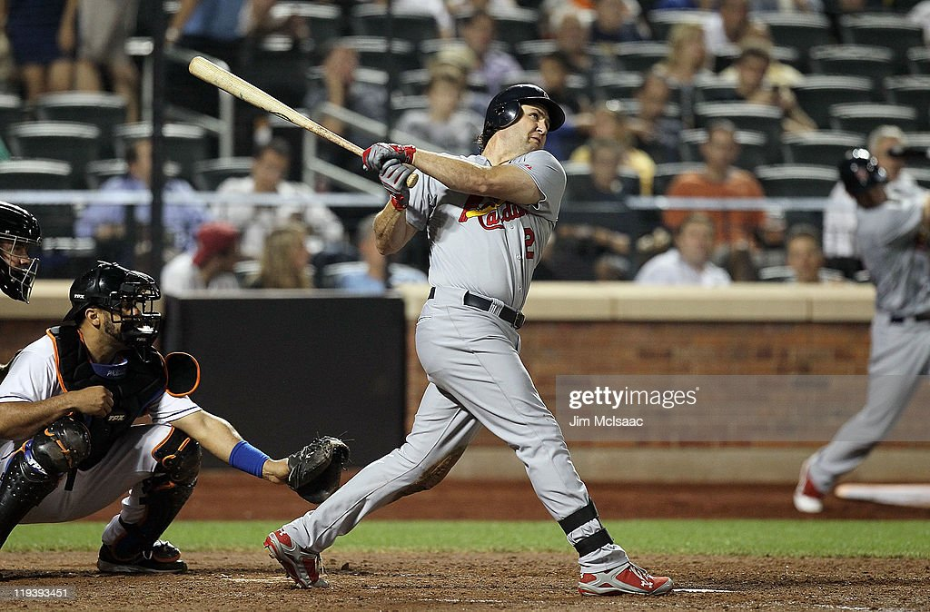 <a gi-track='captionPersonalityLinkClicked' href=/galleries/search?phrase=Lance+Berkman&family=editorial&specificpeople=167176 ng-click='$event.stopPropagation()'>Lance Berkman</a> #12 of the St. Louis Cardinals hits a long seventh inning home run against the New York Mets at Citi Field on July 19, 2011 in the Flushing neighborhood of the Queens borough of New York City.