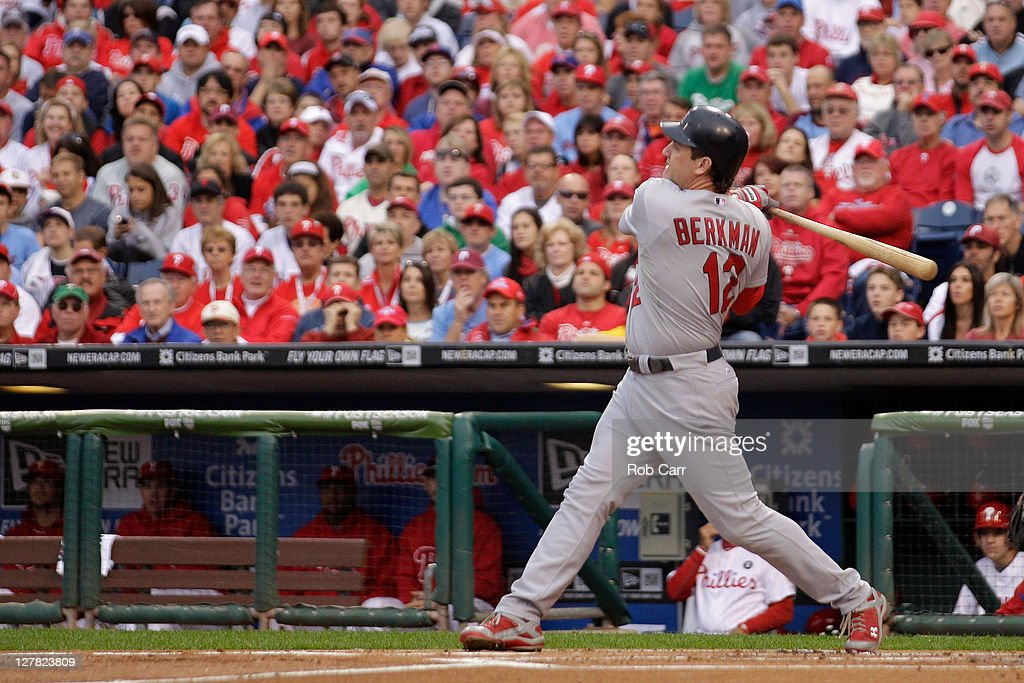 <a gi-track='captionPersonalityLinkClicked' href=/galleries/search?phrase=Lance+Berkman&family=editorial&specificpeople=167176 ng-click='$event.stopPropagation()'>Lance Berkman</a> #12 of the St. Louis Cardinals hits a three-run home run in the first inning of Game One of the National League Division Series against the Philadelphia Phillies at Citizens Bank Park on October 1, 2011 in Philadelphia, Pennsylvania.