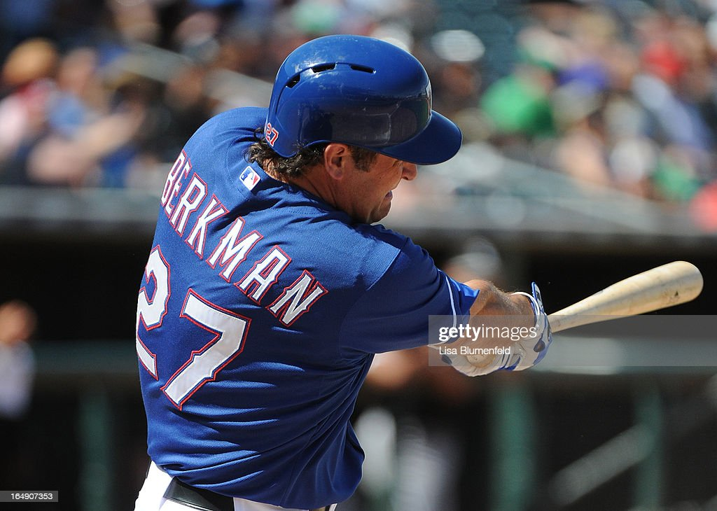 Lance Berkman #27 of the Texas Rangers bats against the Chicago White Sox at Surprise Stadium on March 26, 2013 in Surprise, Arizona.