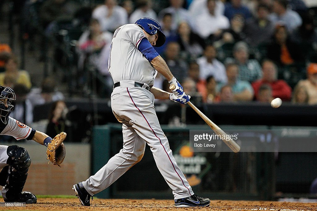 <a gi-track='captionPersonalityLinkClicked' href=/galleries/search?phrase=Lance+Berkman&family=editorial&specificpeople=167176 ng-click='$event.stopPropagation()'>Lance Berkman</a> #27 of the Texas Rangers doubles in the eighth inning against the Houston Astros at Minute Maid Park on April 3, 2013 in Houston, Texas.