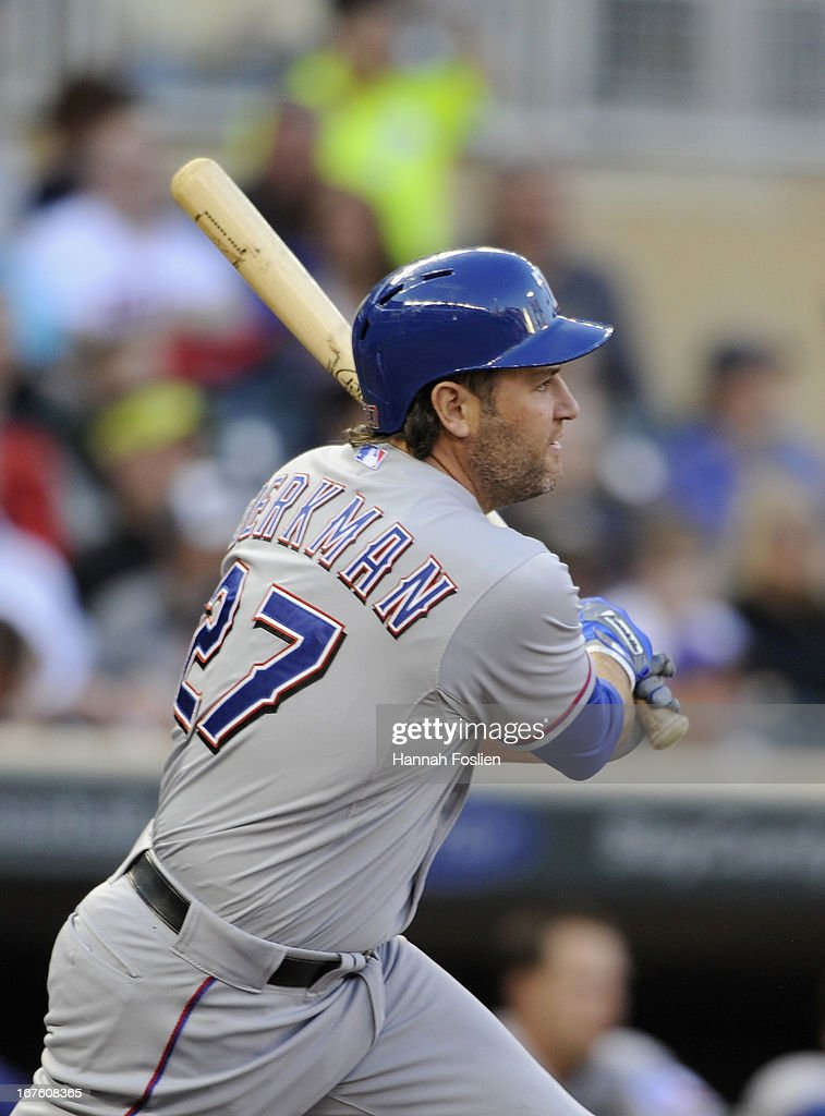 <a gi-track='captionPersonalityLinkClicked' href=/galleries/search?phrase=Lance+Berkman&family=editorial&specificpeople=167176 ng-click='$event.stopPropagation()'>Lance Berkman</a> #27 of the Texas Rangers hits an RBI double during the first inning of the game against the Minnesota Twins on April 26, 2013 at Target Field in Minneapolis, Minnesota.